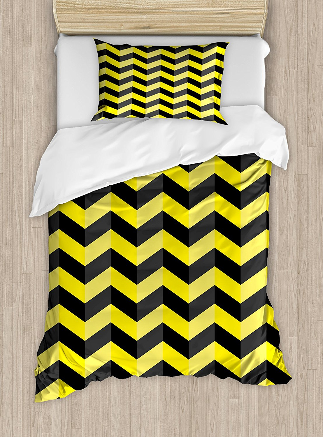 Yellow Chevron Duvet Cover Set Black And Pattern Danger Hazard Warning Sign Stripes Zigzag Bedding In Sets From Home Garden