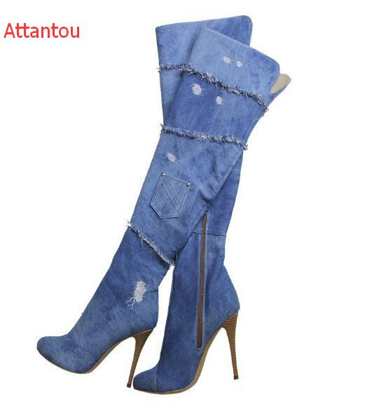 hot selling cutouts denim blue thigh high boots sexy pointed toe over the knee high heel boots 2017 woman thin heels boots 2016 autumn winter hot selling royal blue suede over the knee high heel boots round toe thick heels high boots for woman