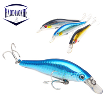 Купить с кэшбэком HAODIAOZHE Crankbait Fishing Lures 3D Eyes Laser Wobbler Sinking Swimming Hard Bait 9.5cm 11g Black Jerkbait Fishing Tackle YU40