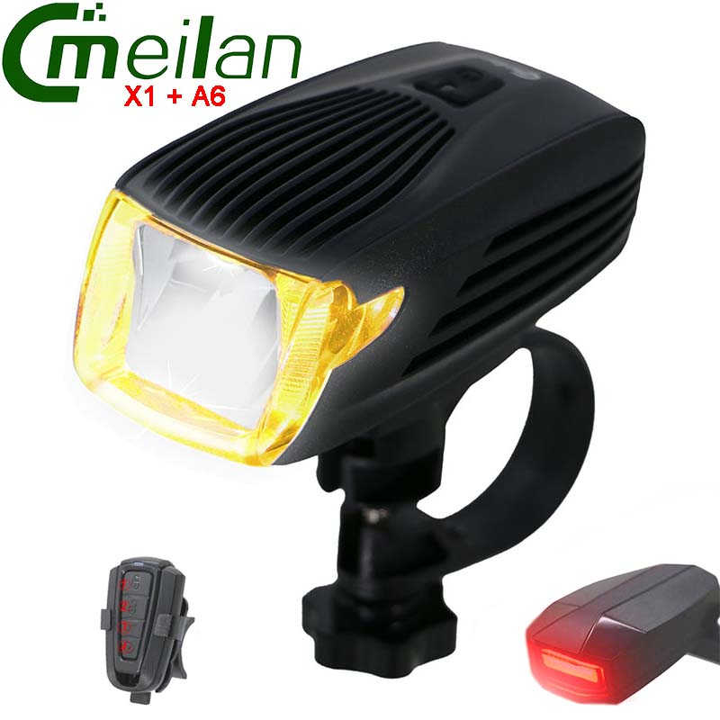 Meilan X1 цикл светодиодов велосипед беспроводной A6 безопасности задний фонарь прозвенит велосипед аксессуары USB аккумуляторная замок велосип…