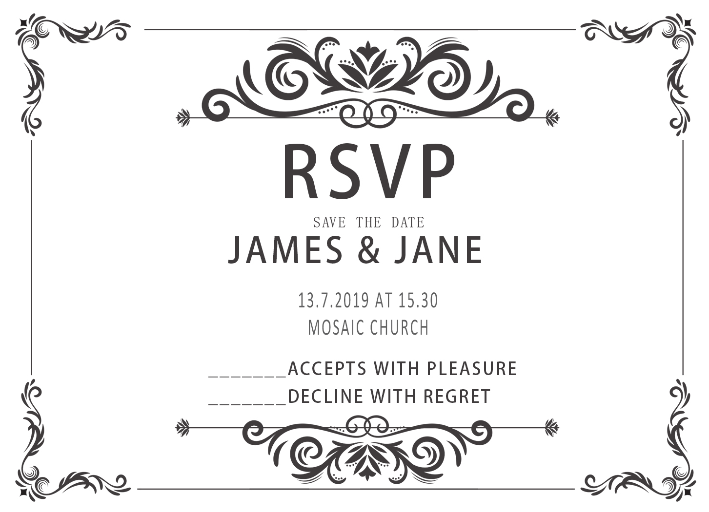 10pcs Design Blank Wedding Print Rsvp Cards Paper Party