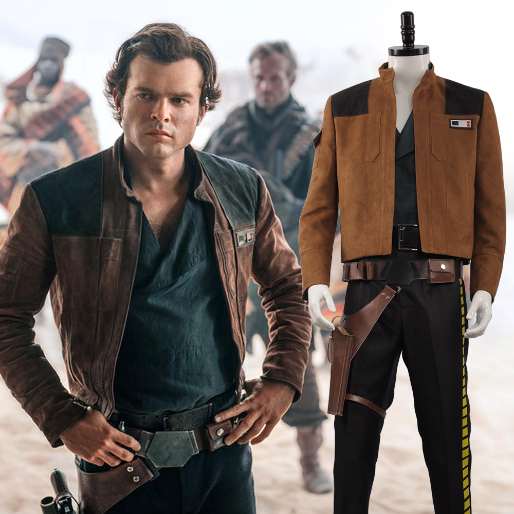 2018 New Movie Solo: A Star Wars Story Cosplay Costume Men Han Solo Cosplay Costume Halloween Adult Outfit TOP+PANTS+SHIRT+BELTS