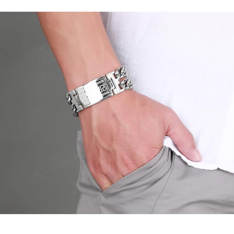 Fashion Men's Stainless Steel bracelets Great Wall Pattern Golden Men Metal Bracelet Cuff Bracelet Jewelry hollow out round pattern alloy cuff bracelets