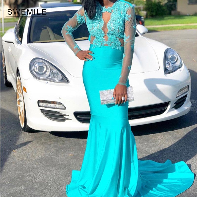 Sexy Cut-out Lace Appliques Long Mermaid   Prom     Dresses   2019 Illusion Long Sleeve   Prom   Gowns Turquoise O-Neck Vestidos De Gala