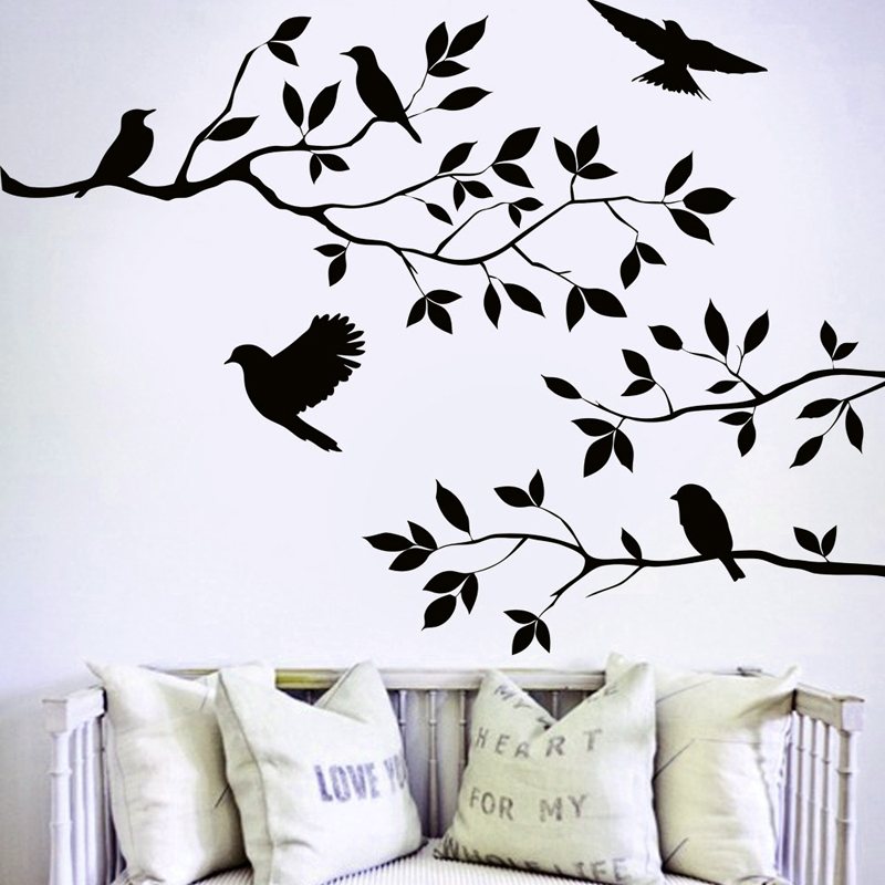 Nice Arts Home Decor Wallpapers Flying Birds Tree Wall Stickers Removable Decal Posters DIY Living Room Mural Decor image