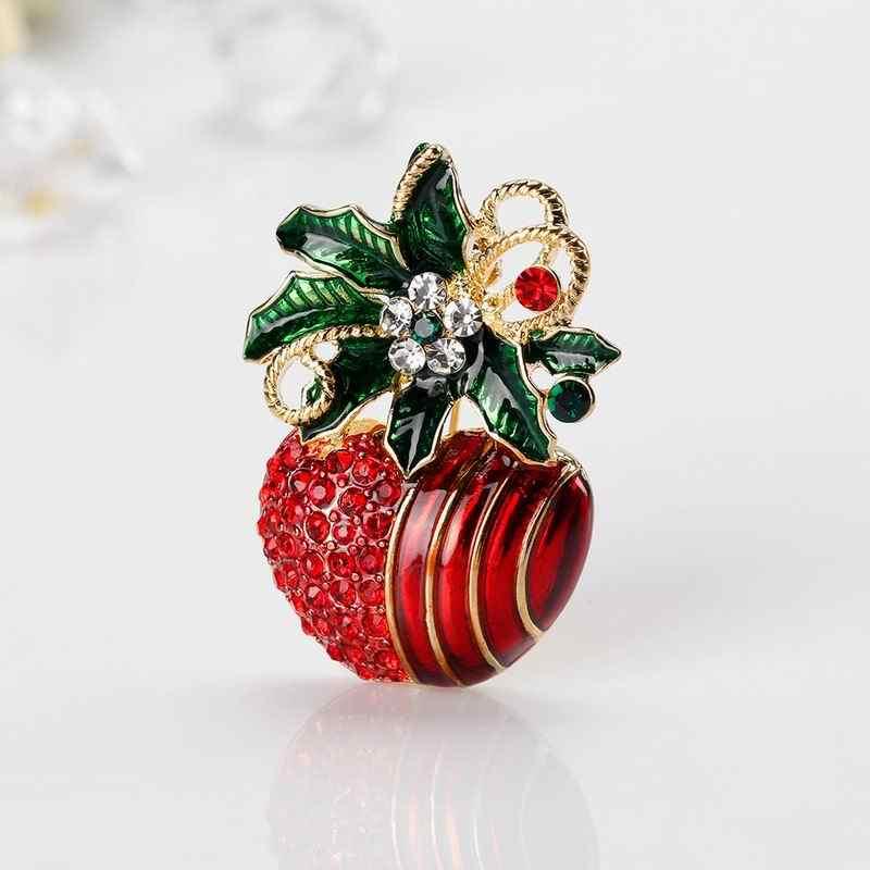 6f74ddac369 ... Red Rhinestone Green Enamel Brooches Crystal Flower Silk Scarf Pins  Dress Clip Buckle Christmas Jewelry Xmas ...