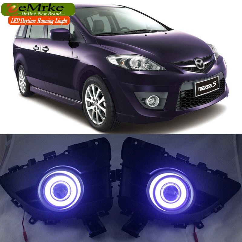 eeMrke LED Daytime Running Lights For Mazda5 Premacy 2010-2012 COB Angel Eye DRL Fog Light 55W Halogen Bulbs H11 leadtops car led lens fog light eye refit fish fog lamp hawk eagle eye daytime running lights 12v automobile for audi ae
