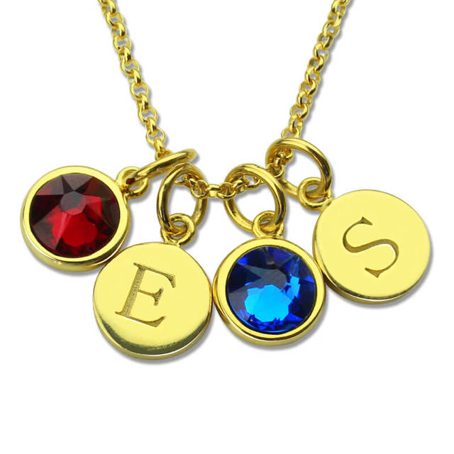 customized gold color disc birthstone necklace engraved jewelry