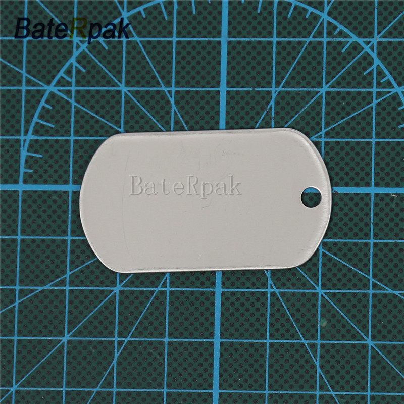 軍事軍識別タグ、BateRpak犬タグステンレス鋼板、ペットIDタグジュエリーペンダント&ネックレス、50.3 * 28.3 * 0.4mm