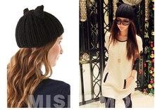 Осень зима симпатичные уши шляпа ручной работы вязаная шапка женщины теплая шерсть cap шапочки