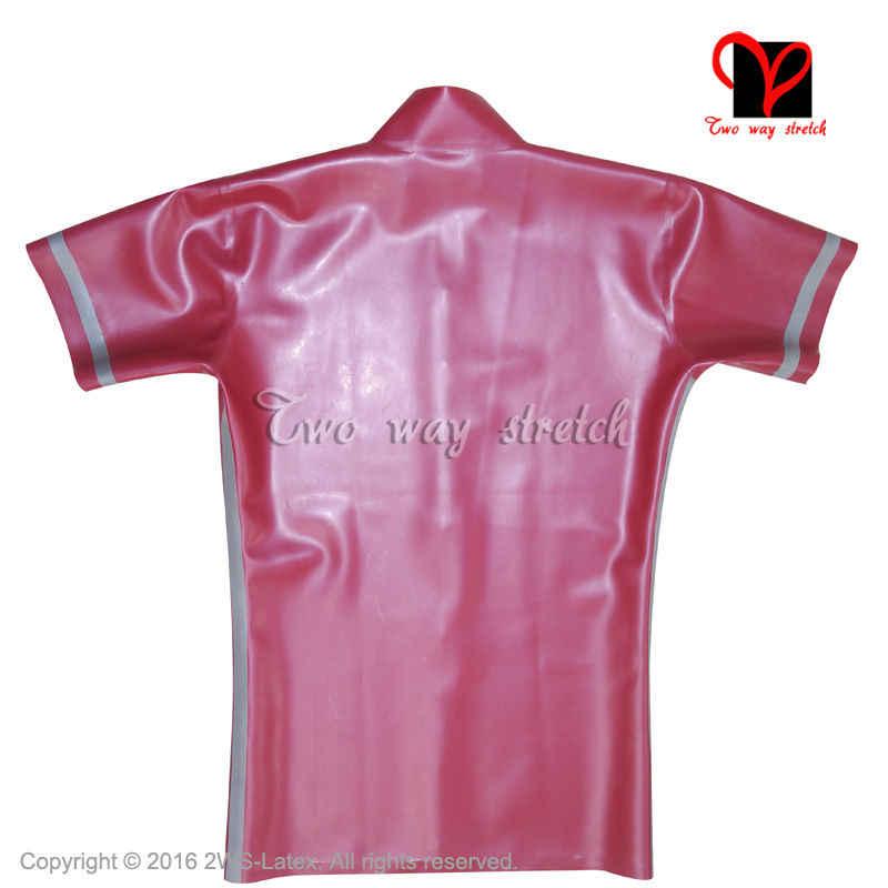 Fermuarlı Açık Kırmızı Gümüş Trimler Seksi Lateks Ceket Boxer Kısa Kollu Kauçuk Ceket Üst Alt Iç Çamaşırı Pantolon Üniforma artı TZ-012