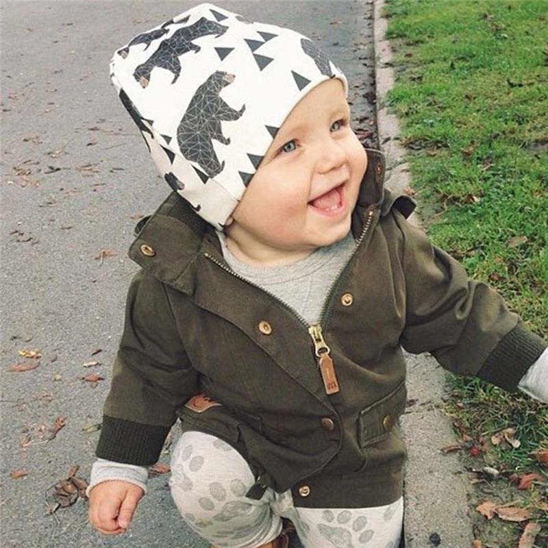 2019 marke Baby Kappe Cartoon Tier Doppel Printting Baumwolle Stricken Beanie Hüte Für Kleinkind Jungen Mädchen Frühling Herbst Winter Headwear