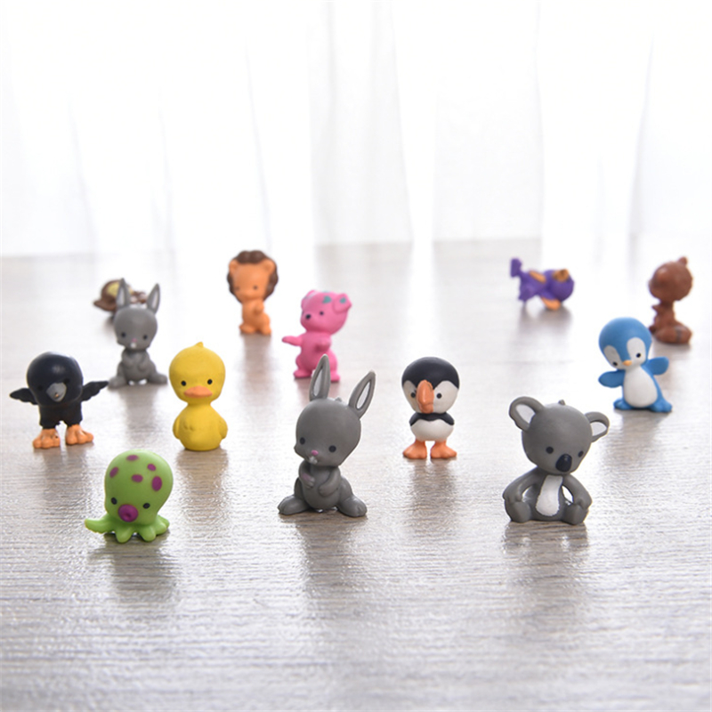 5/10pcs Mini Animal Models Cute Rabbit Bird Bear Cartoon Dolls Toy Gift For Kids Color Random