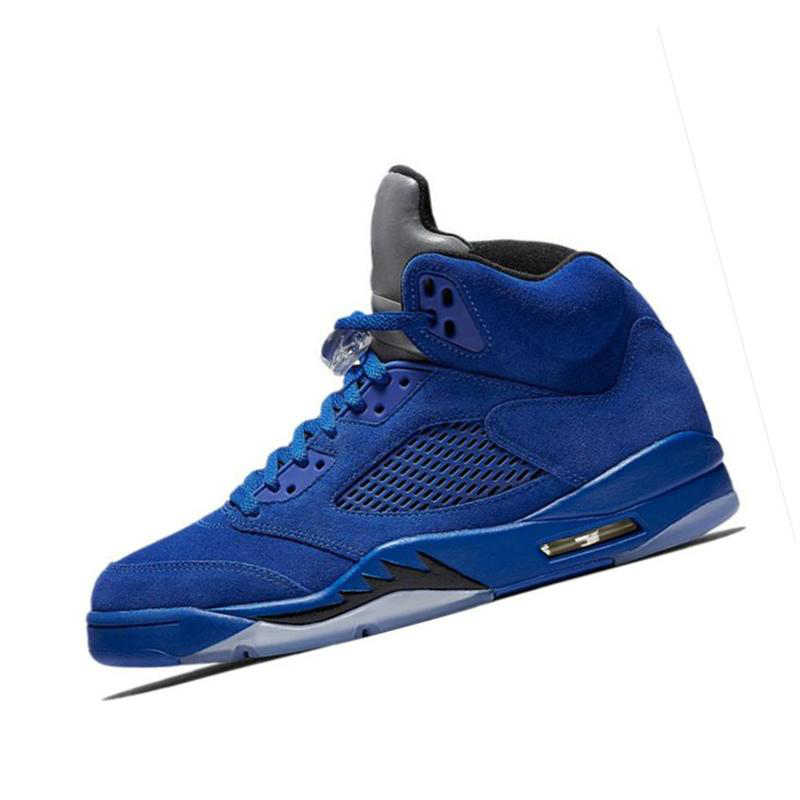 new concept 873db ed778 Jordan Retro 5 5s Basketball Shoes Men Sneakers Zapatos hombre Man Blue Red  Suede Outdoor Sport Shoes size 7-12