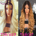 150% Brazilian Virgin Human Hair Glueless Full Lace Human Hair Wigs For Black Women Ombre Wavy Lace Front Wigs With Baby Hair
