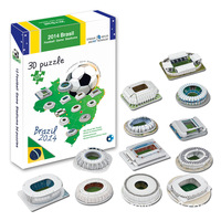 Candice guo 3D puzzle DIY toy paper building model 2014 Brazil Football Game Stadium assemble hand work birthday gift 12pcs/set