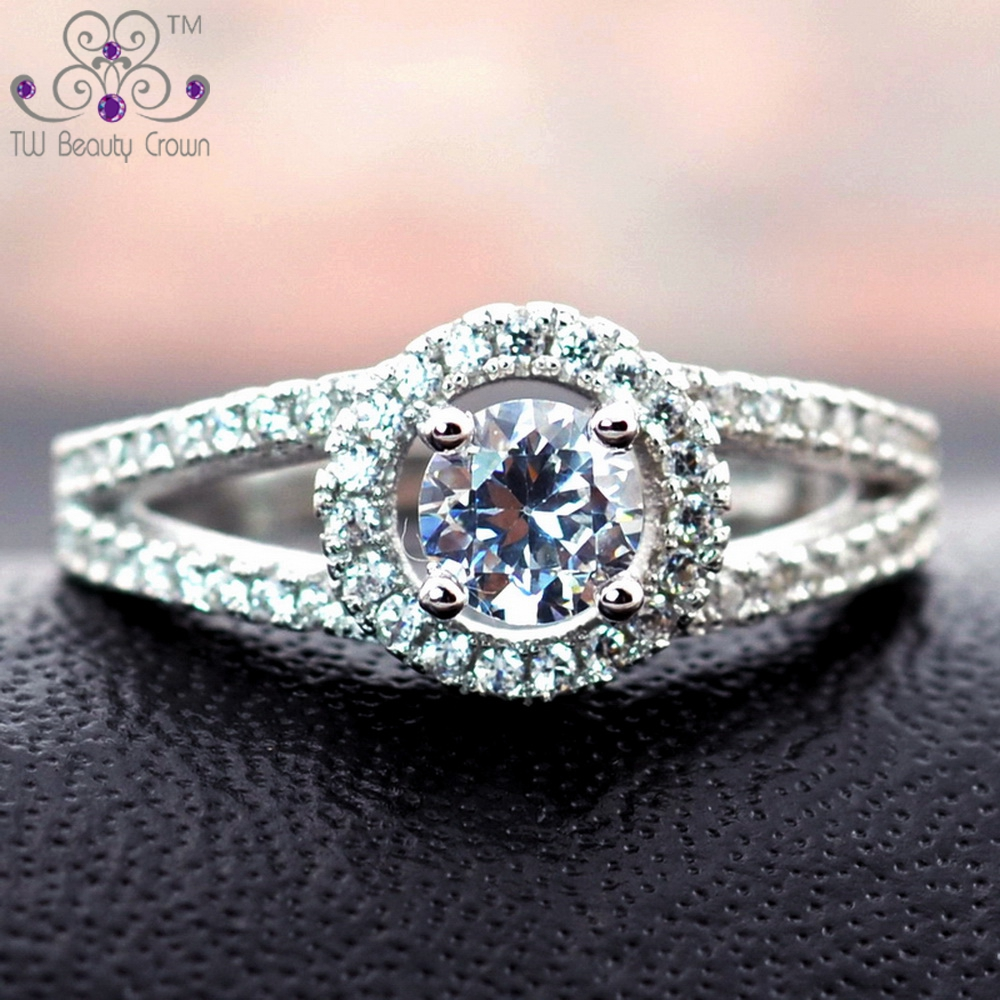 2 Carats Real 925 Sterling Silver Female Classic Luxury White CZ Zirconia Ring for Women Fashioin Wedding & Engagement Jewelry