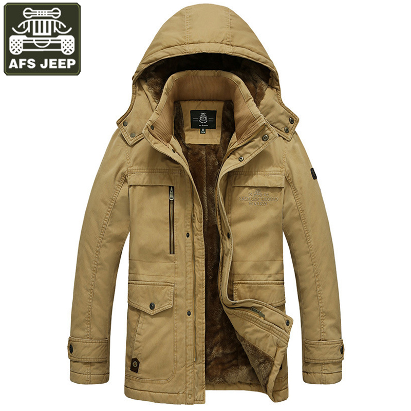 AFS JEEP Parka Winter Jacket Men Thick Warm Wool Liner Hooded Collar Casaco Masculino Winter Jacket Plus Size M-5XL Parka Hombre