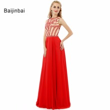 Baijinbai Fashion A Line O Neck Chiffon Beaded Long Red Ombre Prom Dresses 208 Ballkleider Zipper-Up Floor-Length S83104