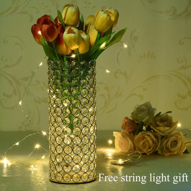 Gold Crystal Cylinder Glass Vases For Home Wedding Centerpieces