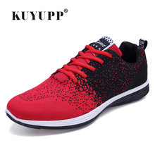 KUYUPP Brand New Knitting Sport Men Casual Shoes Breathable Low Top Valentine Shoes Plus Size 35-44 mens Trainer Botas YD81
