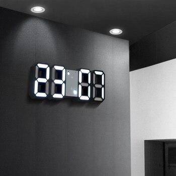 Lámpara de pared 3D, reloj Digital LED con alimentación USB, luz electrónica de escritorio, reloj de escritorio, visualización de hora 12/24, decoración del hogar, despertador, noche