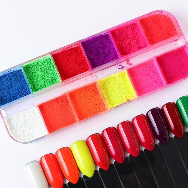 Kit de pó de glitter para unhas 12cores, pó cromado de cor pó de arco íris para decoração de manicure laye