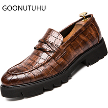 Mens shoes casual leather 2019 new fashion loafers male black or brown slip oin shoe man Increase height for men hot sale