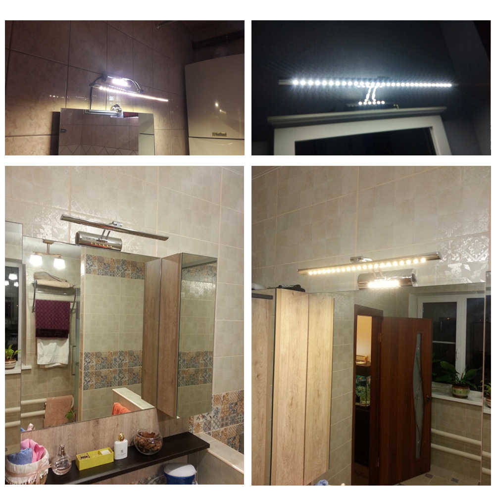 LUCKY LED Mirror light 9W 55cm AC 220V 110V stainless steel bathroom Wall lamps wall sconces lighting with switch
