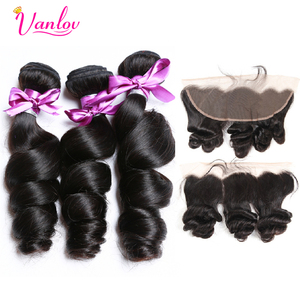 Vanlov Brazilian Loose Wave Bundle With Frontal Closure 3 Bundles Remy Human Hair Weave Ear to Ear Lace Frontal With Bundles