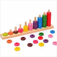 SUKIToy Rainbow Frisado Blocos Clássico Aprendizagem Educacional Brinquedo De Madeira Montessori Matemática Oyuncak presente para as crianças 35*13*6 CM