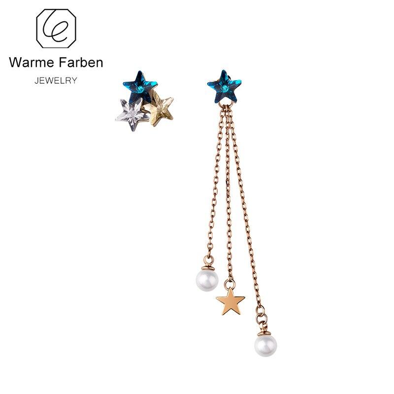 11318f519 WARME FARBEN Crystal from Swarovski Drop Earrings for Women Asymmetry Star  Earring Tassel Chain Jewelry Party