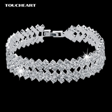 Luxury Crystal Bracelets For Women Silver color Bracelets Bangles Femme Bridal Wedding Jewelry 2016 Vintage Bracelet