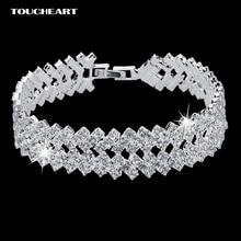 Luxury Crystal Bracelets For Women Silver color Bracelets Bangles Femme Bridal Wedding Jewelry 2018 Vintage Bracelet
