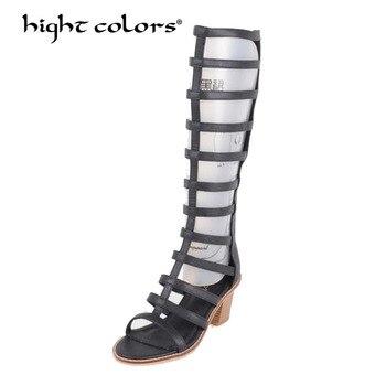 618f4ccbc Высокое качество, Брендовые женские летние сапоги до середины икры  пикантная модная обувь черного и белого цвета на молнии с перекрестной ш.