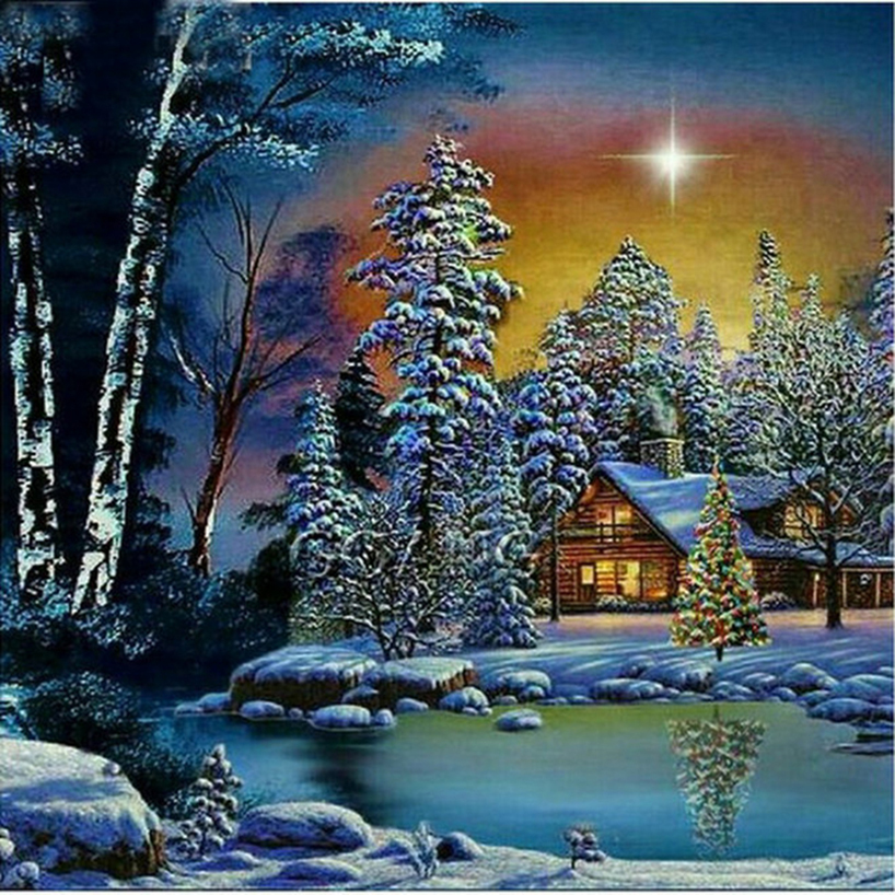 5d Diy Painting Landscape Paint With Round Diamonds Rhinestones Pictures Diamant Embroidery Trees &house In Snow Fr699 Skilful Manufacture