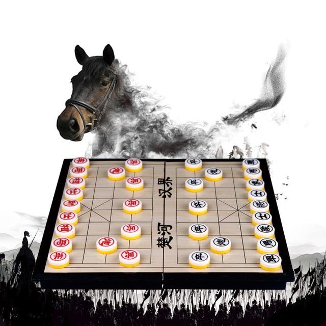 Xiangqi jeu d'échecs chinois magnétique, Portable et pliable, pour enfants et adultes 2