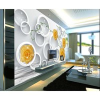 Mould-Proof Non-woven 3D Wallpaper Bedroom Living Room TV Sofa Backdrop Wall paper Yellow Rose Photo Wallpaper Home Decor #30