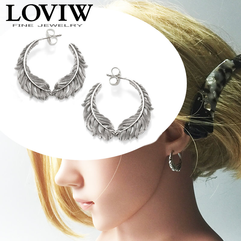 Curved Feathers Earrings new 925 sterling silver jewelry bohemia thomas style fashion for women hoop earrings hyperbole ethnic