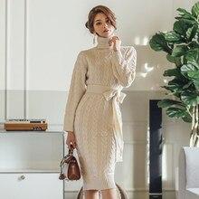 7e8b53c6d74 Осень Зима Европа и США Винтаж для женщин шерстяное платье утолщение  вязаное повседневное вязаный свитер платья