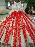 Vestido de Casamento do vintage Rendas 3d Flor Vermelha Padrão Beading Topo Saia Ruched Cauda Real Casamento de Luxo Vestidos de Baile PersonalizedC