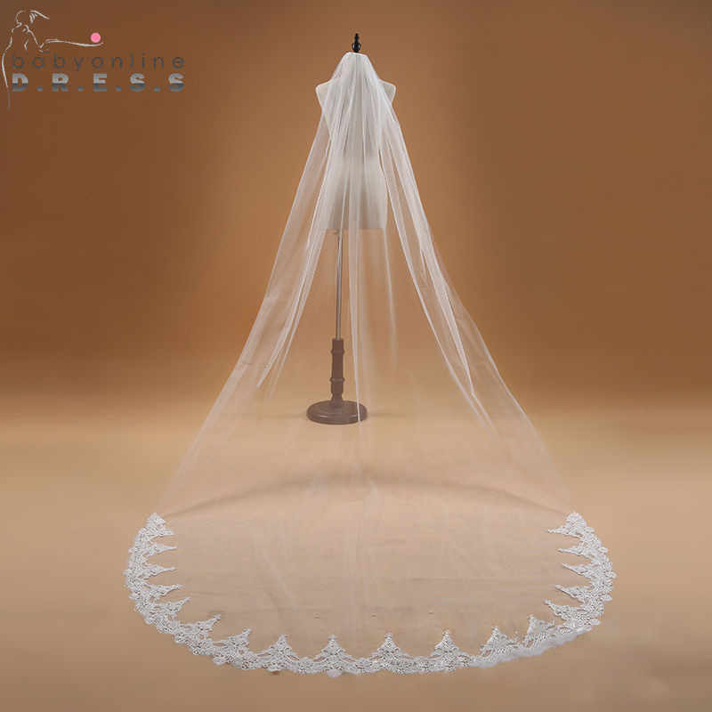 Voile Mariage 3M Satu Lapisan Renda Edge Putih Gading Katedral Pernikahan Kerudung Pengantin Panjang Kerudung Pernikahan Murah Aksesoris Veu de Noiva