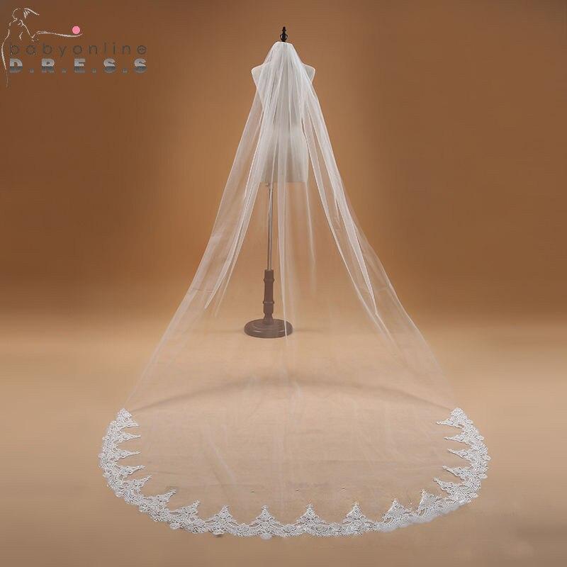 Voile Mariage 3M Uma Camada Borda Do Laço Branco Marfim Véu Do Casamento Catedral Longo Véu de Noiva Acessórios Véu Do Casamento Barato de Noiva