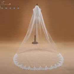 Voile Mariage 3M une couche dentelle bord blanc ivoire cathédrale Mariage Voile longue mariée Voile pas cher accessoires de Mariage Veu de Noiva