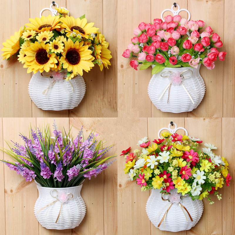 Buy plastic vase with silk flowers for Artificial flowers decoration home