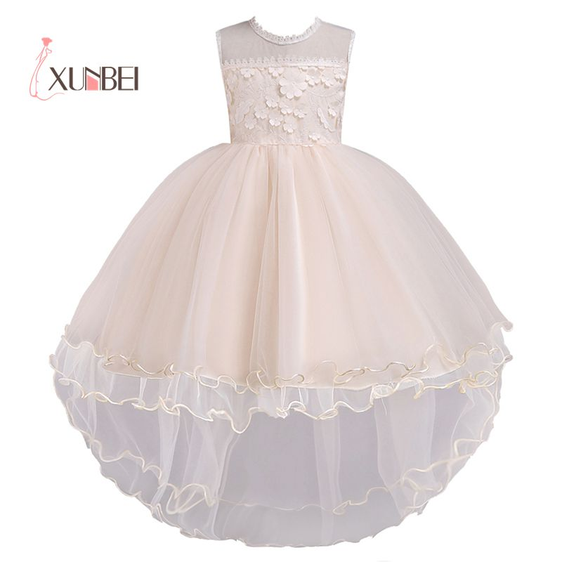Hi-low Puffy Tulle Pink   Flower     Girl     Dresses   2019 Sleeveless Ball Gown Pageant   Dresses   For   Girls   First Communion   Dresses