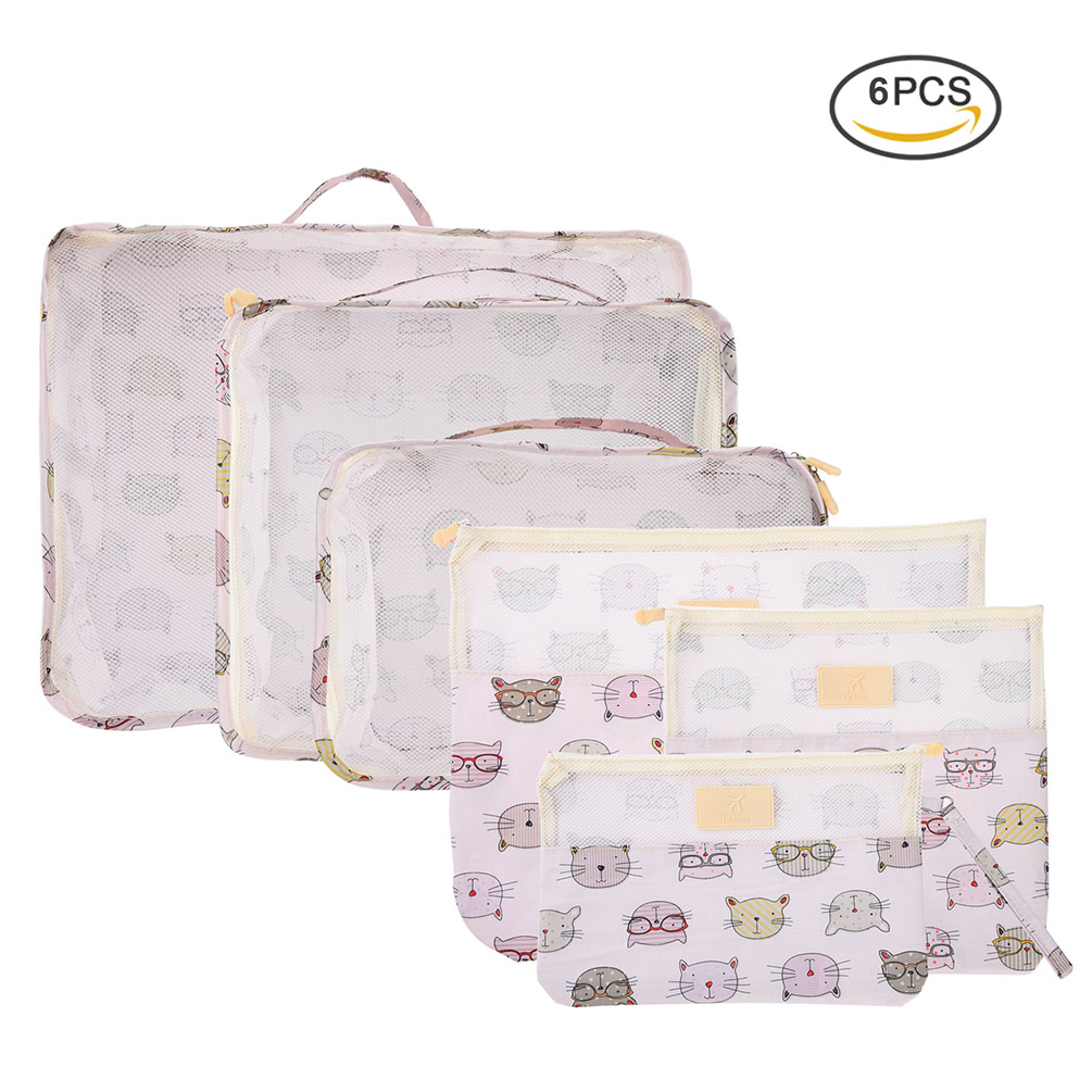 Vbiger 6 in 1 Packing Cubes Bags Cat Luggage Organizer Dacron Travel Storage Pouch for O ...
