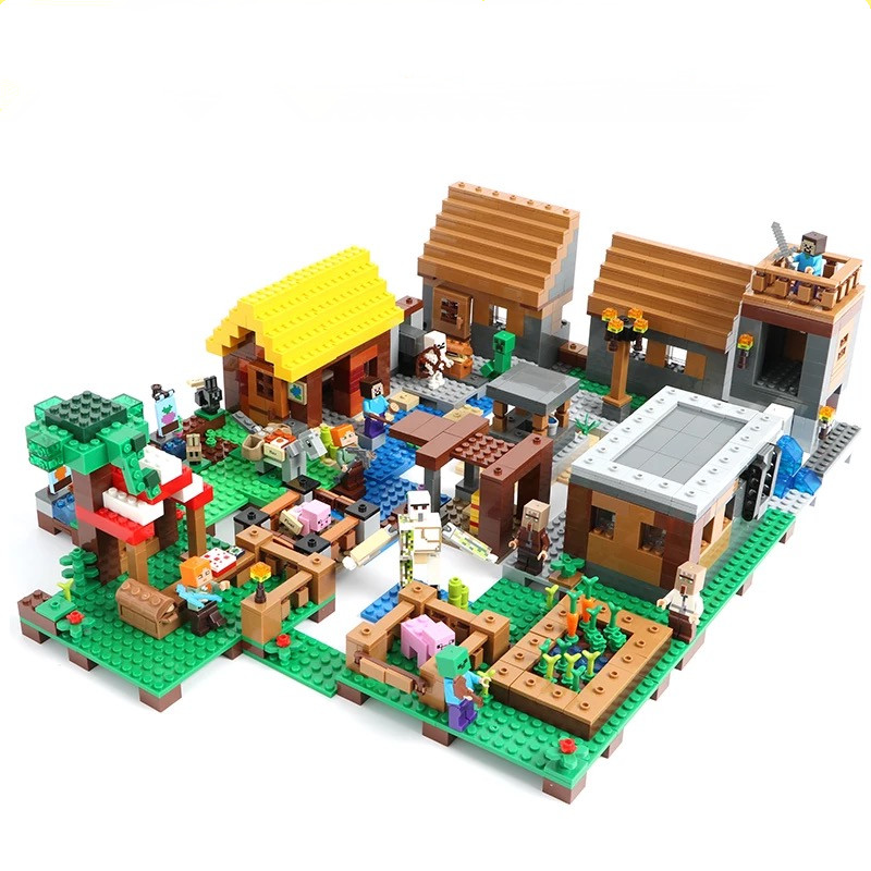 Minecrafted Figures City Building Blocks Bricks Blocks Set Educational Toys For Children MY WORLD Digital building blocks minecrafted steves village building blocks toys for children my world set blocks compatible legoing figures city bricks for kids