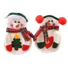 2 Sets Lot 8pcs set Xmas Decor Snowman Kitchen Tableware Holder Pocket Dinner Cutlery Bag
