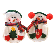 2 Sets/Lot! 8pcs/set Xmas Decor Snowman Kitchen Tableware Holder Pocket Dinner Cutlery Bag